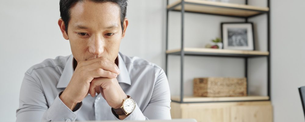 Businessman reading e-mails